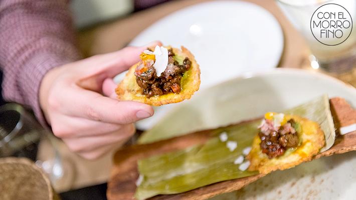 Tiradito peruano montadito amazónico tostón chorizo patacones 02