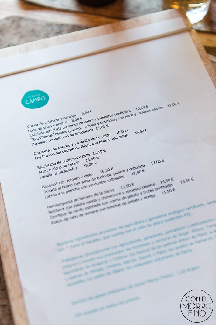 Mama Campo menu carta