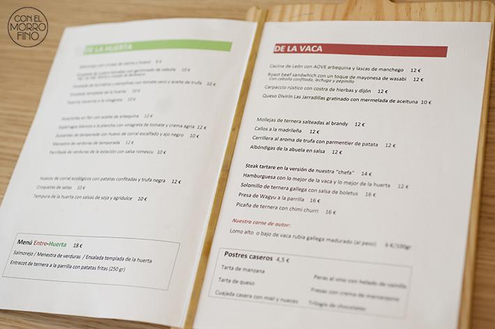 La Vaca y la Huerta Restaurante Carta Interior