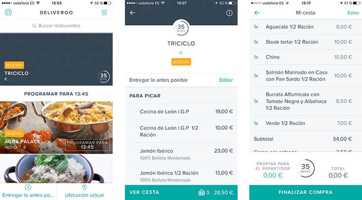 deliveroo comida a domicilio Madrid app
